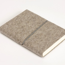 Diary FILZDUETT felt nature/elastic grey | 12 x 16,5 cm,  1 week/double page