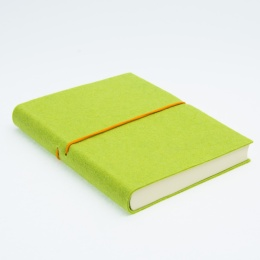 Diary FILZDUETT felt light green/elastic orange | 8 x 12,5 cm,  1 week/double page