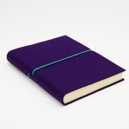 Diary FILZDUETT felt purple/elastic turquoise | 12 x 16,5 cm,  1 day/page