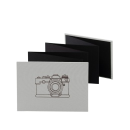 Leporello CAMERA light grey | 18 x 13 cm, landscape format, for 14 photos black