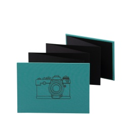Leporello CAMERA jade | 18 x 13 cm, landscape format, for 14 photos black