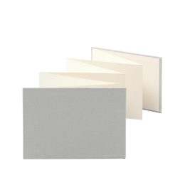 Leporello LEINEN light grey | 18 x 13 cm, landscape format, for 14 photos cream