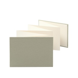 Leporello LEINEN olive | 18 x 13 cm, landscape format, for 14 photos cream