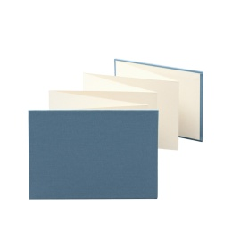 Leporello LEINEN night blue | 18 x 13 cm, landscape format, for 14 photos cream
