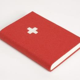 Notebook FILZBUCH red with swiss cross | A 5, 144 sheet blank