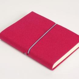 Notebook FILZDUETT felt pink/elastic turquoise | 12 x 16,5 cm, 144 sheet blank